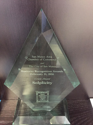 Solplicity was honored with the Green Award at the San Mateo Chamber of Commerce 21st annual Business Awards Dinner earlier this month. Joe Nolan, the Northern California operator for Solplicity, accepted the honor for the company.