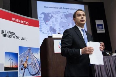 Steven Miles, head of the LNG practice at Baker Botts, addresses legal, cultural issues confronting energy companies during a media briefing at LNG 17 in Houston today.  (PRNewsFoto/Baker Botts L.L.P.)