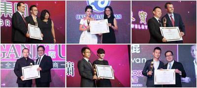 (Top row, from left) Edmund Chau, Chairman and CEO of Shenzhen Batar Investment Holding Group Co Ltd; Mrs Wang Tong, Representative of Shenzhen United BlueOcean Technology Development Co Ltd; Lin Changwei, Chairman of Shenzhen Xingguangda Jewellery Industrial Co Ltd. (Bottom row, from left) Huanjian Zheng, General Manager of Shenzhen Ganlu Jewelry Co Ltd; Michael Cao, CEO of KELA; Sit Kwan, President of Shenzhen Bofook Jewellery Co Ltd