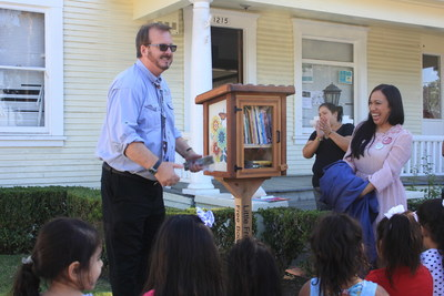 The Founder of Little Free Library Todd H. Bol and Makara Center for the Arts Founder Marytza Rubio celebrated the 50,000th Little Free Library, which was placed at the Illumination Foundation Children's Resource Center in Santa Ana, California on Friday.
