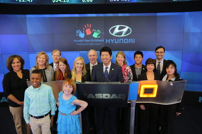 Hyundai Hope On Wheels(R) rings the NASDAQ Stock Market Opening Bell at theNASDAQ MarketSite in New York's Times Square on Wednesday, April 16, 2014. (PRNewsFoto/Hyundai Hope On Wheels)
