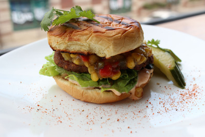Custom MorningStar Farms(R) Dixie Griller Veggie Burger created by Mitch Prensky, chef and owner of Supper Restaurant.