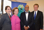 Senior executives from Pfizer, Pro Mujer, Sesame Workshop and the Mayo Clinic joined with Muppet Rosita to celebrate an extraordinary partnership!  Together they will develop new technology platforms to promote healthy behavior and disease prevention among poor women and children in Latin America!  Learn more at www.promujer.org. From left to right, Caroline T. Roan, Vice President of Corporate Responsibility, Pfizer Inc.; Rosario Perez, Pro Mujer's President and Chief Executive Officer; Rosita, Sesame Street Muppet; H. Melvin Ming, Sesame Workshop's President and CEO; John Noseworthy, M.D., Mayo Clinic's President and CEO.  (PRNewsFoto/Pro Mujer)