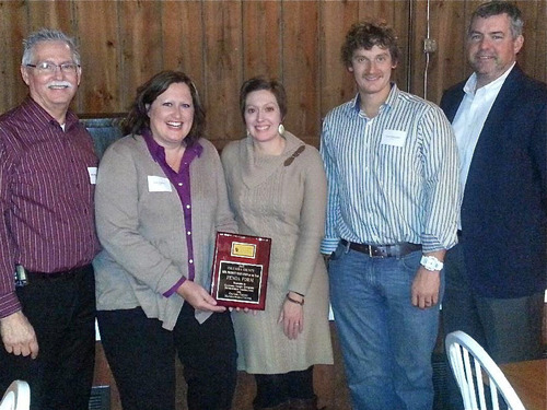 PendaForm accepts product innovation award from Columbia County, Wisconsin Economic Development group. Left to right: Mark Maederer, Heidi Bulgrin, Mollie Burkhardt, Tony Wangelin, Tim Williams. (PRNewsFoto/PendaForm) (PRNewsFoto/PENDAFORM)
