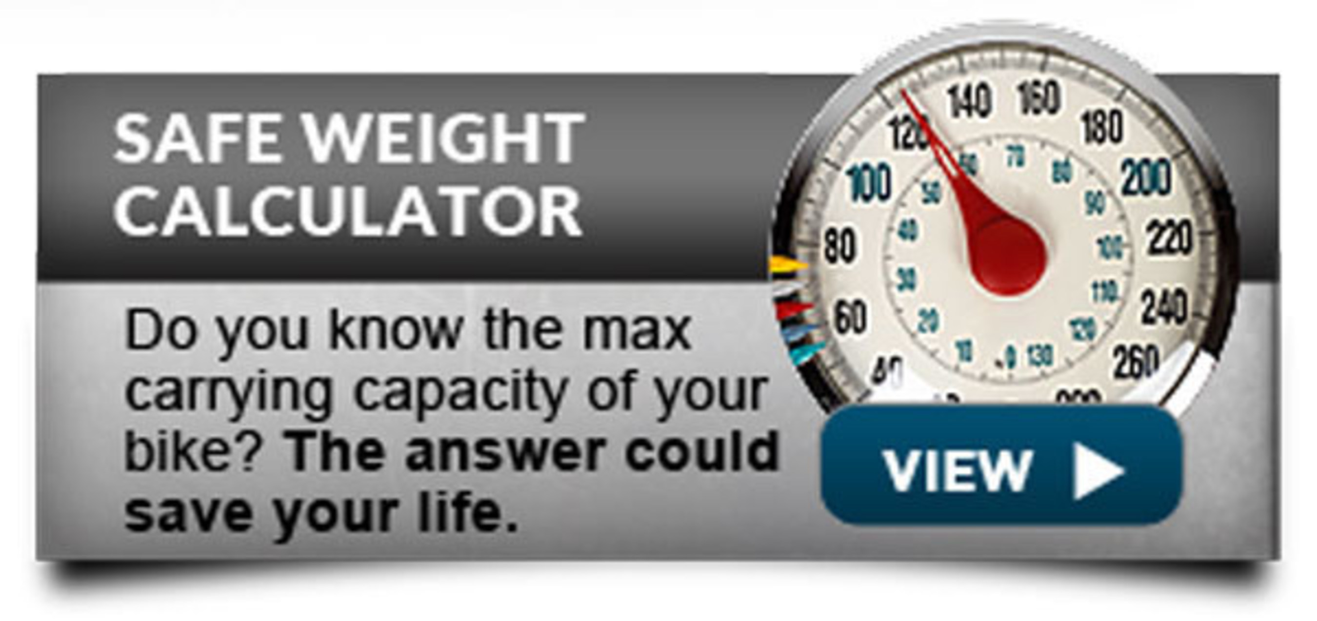 The Safe Weight Calculator tells riders of touring motorcycles how much gear they can pack without going over the manufacturer's established weight limit.