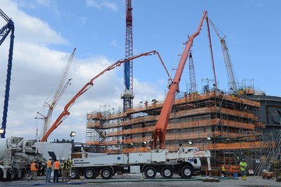 More than 1,800 cubic yards of concrete is pumped into the walls of the Unit 3 CA20 module on Sunday, March 6 at the Vogtle nuclear expansion.