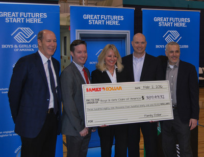 Family Dollar presents Boys & Girls Clubs of America with a check for the results of their 'Give the Gift of Sharing' cause campaign earlier this week in Charlotte, N.C. (Left to right) Gary Philbin, president and CEO of Family Dollar; Tony Barnett, director of cause marketing, BGCA; Jane Calvert, national director of corporate partnerships, BGCA; Matt Martin, VP of marketing for Family Dollar; Jason Reiser, chief merchandising officer for Family Dollar.