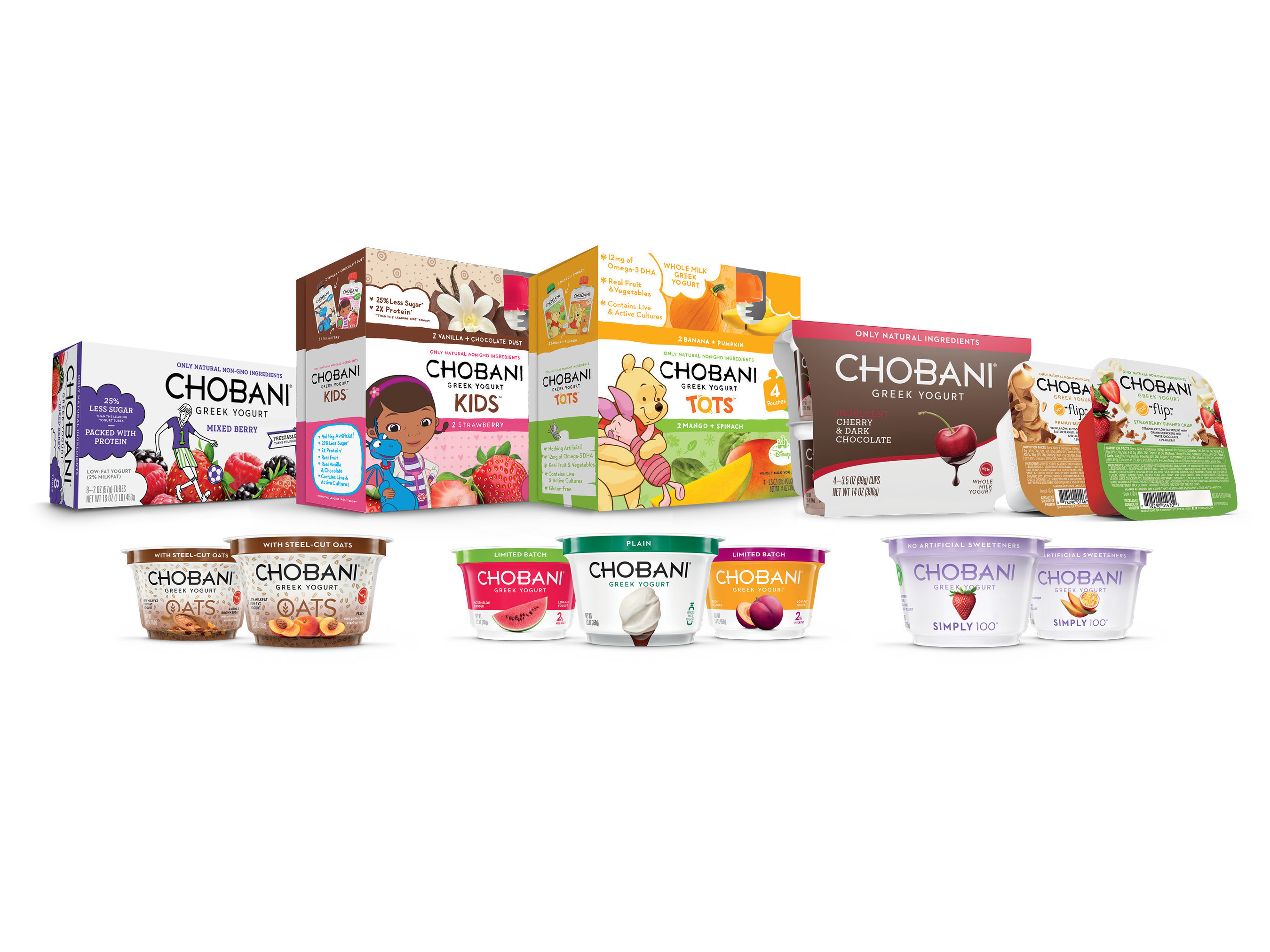 Chobani, America's No. 1-selling Greek Yogurt brand, announces new products across its entire portfolio-including new Chobani Oats, Chobani Simply 100, Chobani Flip, Limited Batch Chobani Greek Yogurt, Chobani Kids Greek Yogurt Tubes and Chobani Indulgent.