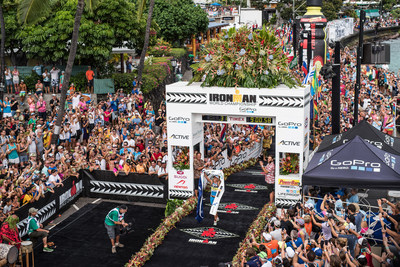 The legendary IRONMAN World Championship finish line on Ali'i Drive in Kailua-Kona, Hawaii during the 2014 IRONMAN World Championship. Nils Nilsen for IRONMAN