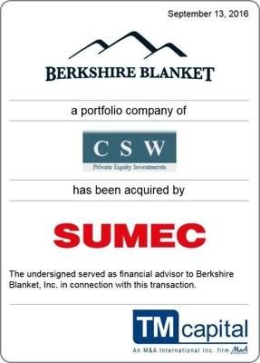 TM Capital Advises Berkshire Blanket in Sale to SUMEC Group