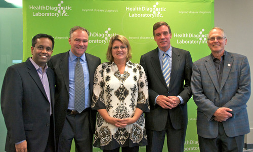 Satyanarain Rangarajan, Governor Tim Kaine, Tonya Mallory, Senator Mark Warner, and G. Russell Warnick at ...