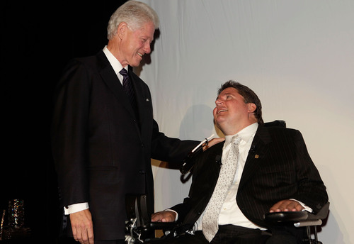 President Clinton and Marc Buoniconti attend the 25th Annual Great Sports Legends Dinner to benefit The ...