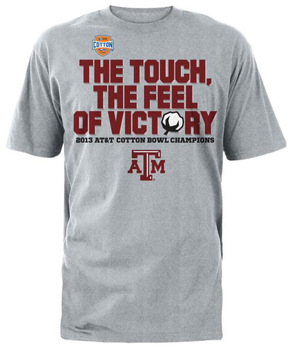 "AT&T Cotton Bowl championship merchandise revises popular advertising tagline to ""The Touch, The Feel of ..."