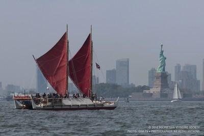 Hokulea, Hawaii's legendary traditional voyaging canoe, in New York