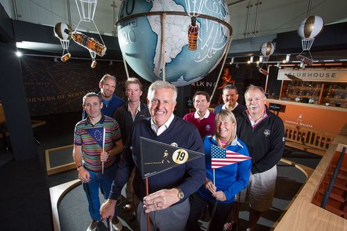 European team (l-r) Mark McGivern, Martin Dempster, Alasdair Reid and Colin Montgomerie take on US team (l-r) Bob Denney, Dove Jones, Kelly Elbin and Alex Miceli at the JOHNNIE WALKER Ryder Cup media event at the JOHNNIE WALKER EXPERIENCE (PRNewsFoto/JOHNNIE WALKER)