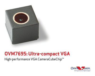 OmniVision Technologies, Inc. (NASDAQ: OVTI) today announced the industry's most compact VGA CameraCubeChip to date: the high-performance OVM7695. With a module size of 2.4 x 2.4 x 2.3 mm, the reflowable OVM7695 offers an easy-to-use front-facing camera solution that requires minimal assembly and tuning effort, making it a highly attractive solution for mobile device manufacturers. Using OmniBSI  pixel architecture, the OVM7695 delivers high-quality video that consumers have come to expect, in a remarkably thin form factor. The OVM7695, as a standard camera IC, has minimal tuning requirements and low inventory risks, which reduces production cost and time-to-market for manufacturers.  (PRNewsFoto/OmniVision Technologies, Inc.)