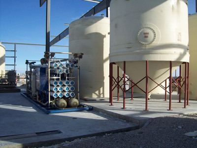 Reverse osmosis unit and water treatment and storage tanks.  (PRNewsFoto/Ur-Energy Inc.)