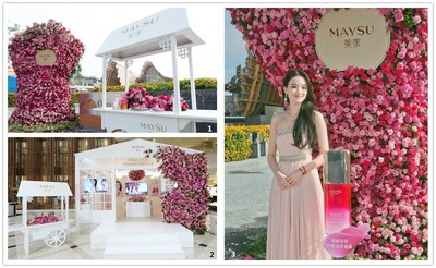 """Photos 1 & 2: MAYSU spokesperson Shu Qi inaugurated the world premiere of Rose Honey Nutrition Moisturizing Intensive Serum Dew at the China Pavilion, Expo Milano. Photo 3: The """"rose & honey"""" experience zone inspired by the MAYSU Oriental Garden providing consumers with an inspiring experience that stimulates all of the senses."""