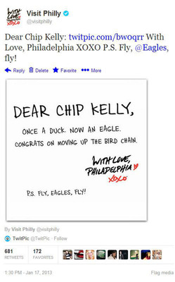 Screenshot of Visit Philly's tweet welcoming new Philadelphia Eagles head coach Chip Kelly, one of its more popular tweets.  (PRNewsFoto/Greater Philadelphia Tourism Marketing Corporation)