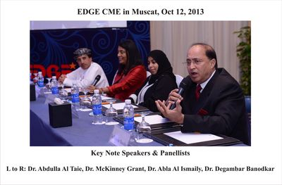 EDGE CME in Muscat, Oct 12, 2013: Key Note Speakers & Panellists: L to R - Dr. Abdulla Al Taie, Dr. McKinley-Grant, Dr. Abla Al Ismaily, Dr. Degambar Banodkar