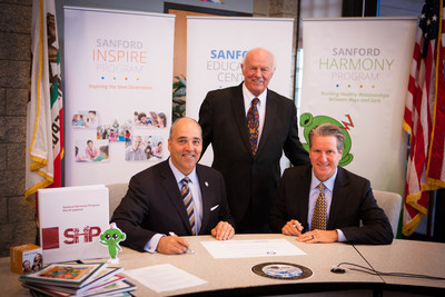 National University President Dr. Michael R. Cunningham, philanthropist Denny Sanford, and Lakeside Union School District Superintendent Dr. David Lorden (left to right) met to formalize the agreement that makes the San Diego County-based school district the first in the country to adopt the Sanford Harmony Program. The research-based program promotes positive peer interactions at primary grade levels and has been found to increase school engagement and academic achievement.