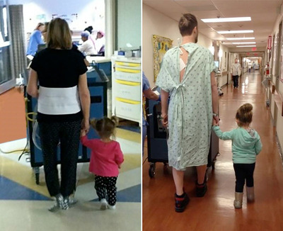 Ava was 2 years old when she walked with her grandma, Diane Kurtyka, left, after her SynCardia Total Artificial Heart implant. Two years later she took a walk hand-in-hand with her dad, Albert Kurtyka, following his SynCardia Heart implant. (PRNewsFoto/SynCardia Systems, Inc.)