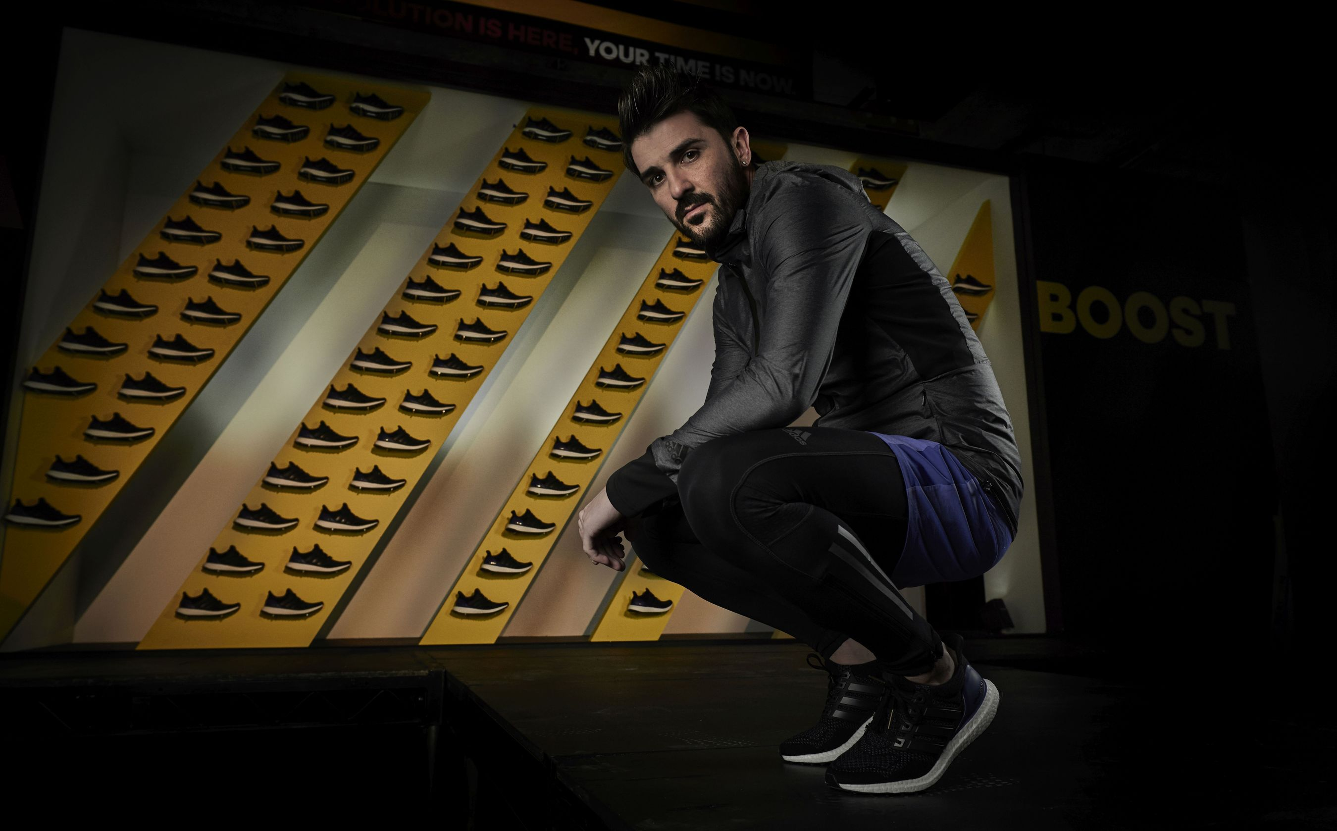David Villa pictured at the launch of the new adidas Ultra BOOST running shoe in New York City (PRNewsFoto/adidas)