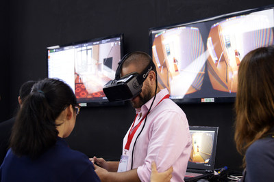 "At CIFF (Guangzhou) 2016, Landbond released its ""fitting room"" for furniture which allows customers to ""try on"" the furniture in their own home using the VR headset."