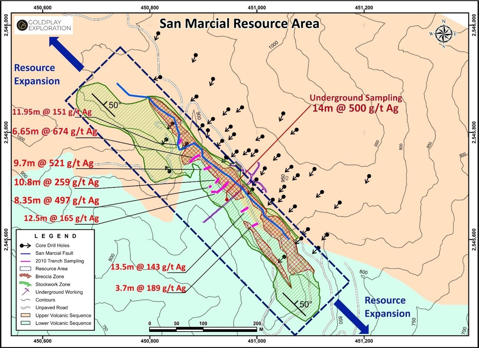 Figure 1  Location Breccia and Stockwork Zone in the San Marcial Resource Area