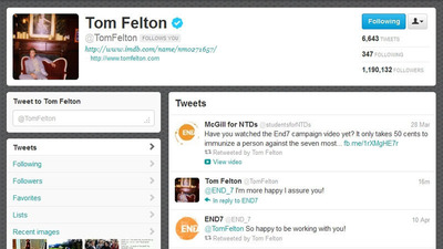 Tom Felton Begins His Role as END7 Ambassador Through Twitter.  (PRNewsFoto/Sabin Vaccine Institute)