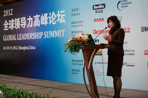 Yukako Uchinaga, CEO of Berlitz delivered the keynote speech at 2012 Global Leadership Summit.  (PRNewsFoto/Berlitz China)