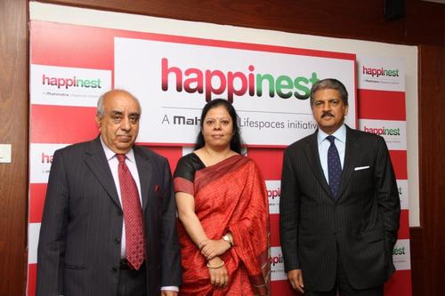 "( L-R) Mr. Arun Nanda, Chairman, Mahindra Lifespace Developers Ltd., Ms. Anita Arjundas, Managing Director & CEO, Mahindra Lifespace Developers Ltd. and Mr. Anand Mahindra, Chairman, Mahindra Group at the brand launch of Affordable Housing - ""Happinest"" (PRNewsFoto/Mahindra and Mahindra Ltd)"