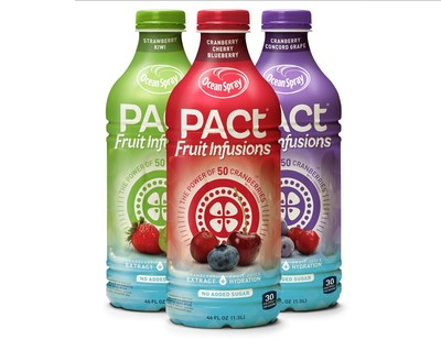 PACt(R) Fruit Infusions is a healthy hydration option providing everything that you love about juice and nothing you don't. It's good for the whole family and is available nationwide in three fresh and fruity varieties - Strawberry Kiwi, Cranberry Concord Grape and Cranberry Blueberry Cherry. Visit PACt.OceanSpray.com to learn more.