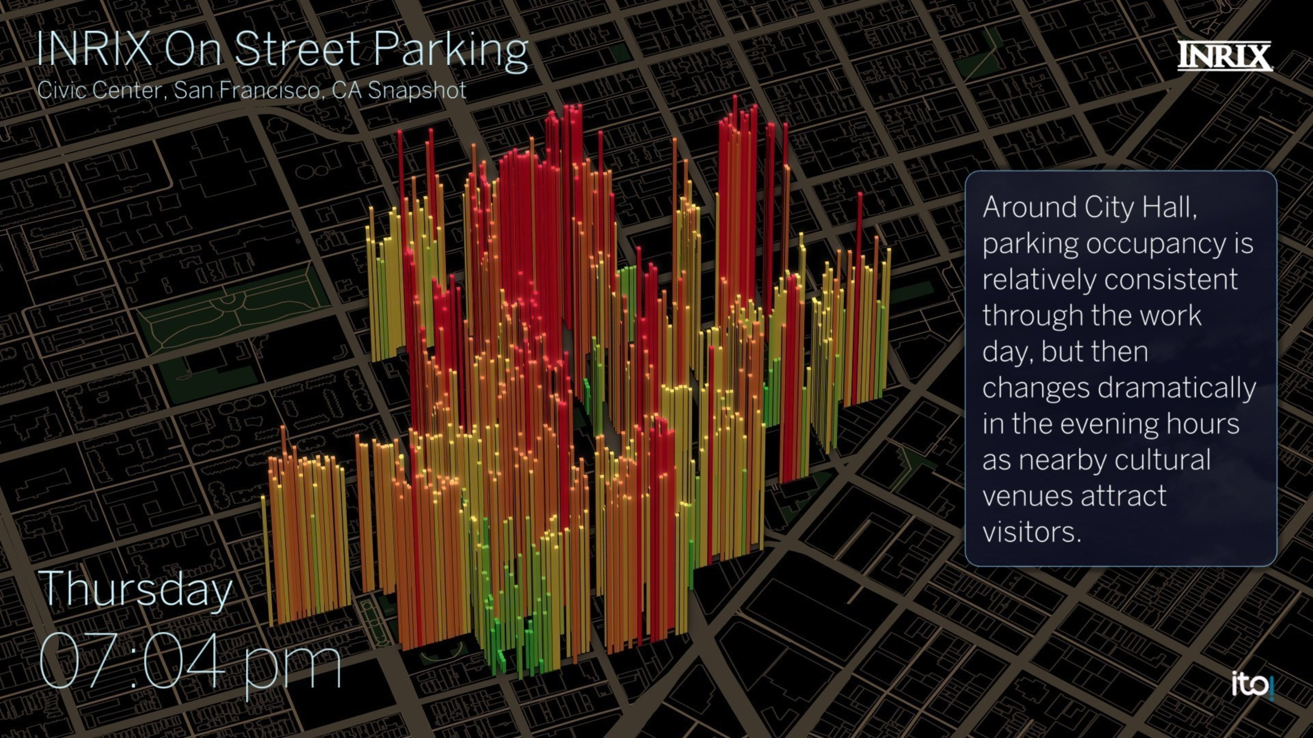 Snapshot of parking availability in San Francisco from INRIX On-Street Parking Service.  INRIX is providing an on-street parking service to automakers, navigation providers and cities that helps drivers find street parking faster in cities.  Color coded columns show probability of available spaces by block from green (high probability) to red (low probability).  Full visualization available on request