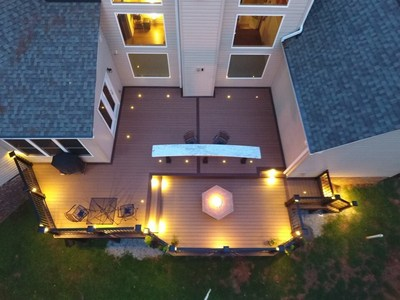 "At the sixth annual National Deck Competition in Baltimore, Md., Raleigh-based deck building company ROBCO Fence and Deck, LLC. won first place in the Illumination Project ""Deck Lighting"" category and second place in the Alternative Decking category, recognizing the team for their work on a multi-level deck built with premium TimberTech(R) Decking and Lighting with coordinated Premier Railing."