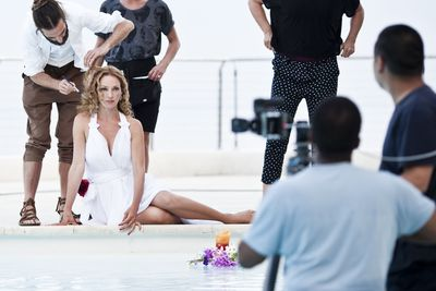 Campari Calendar 2014 – Worldwide Celebration. Star: Uma Thurman. Photographer: Koto Bolofo. Behind the scenes images by Francesco Pizzo.