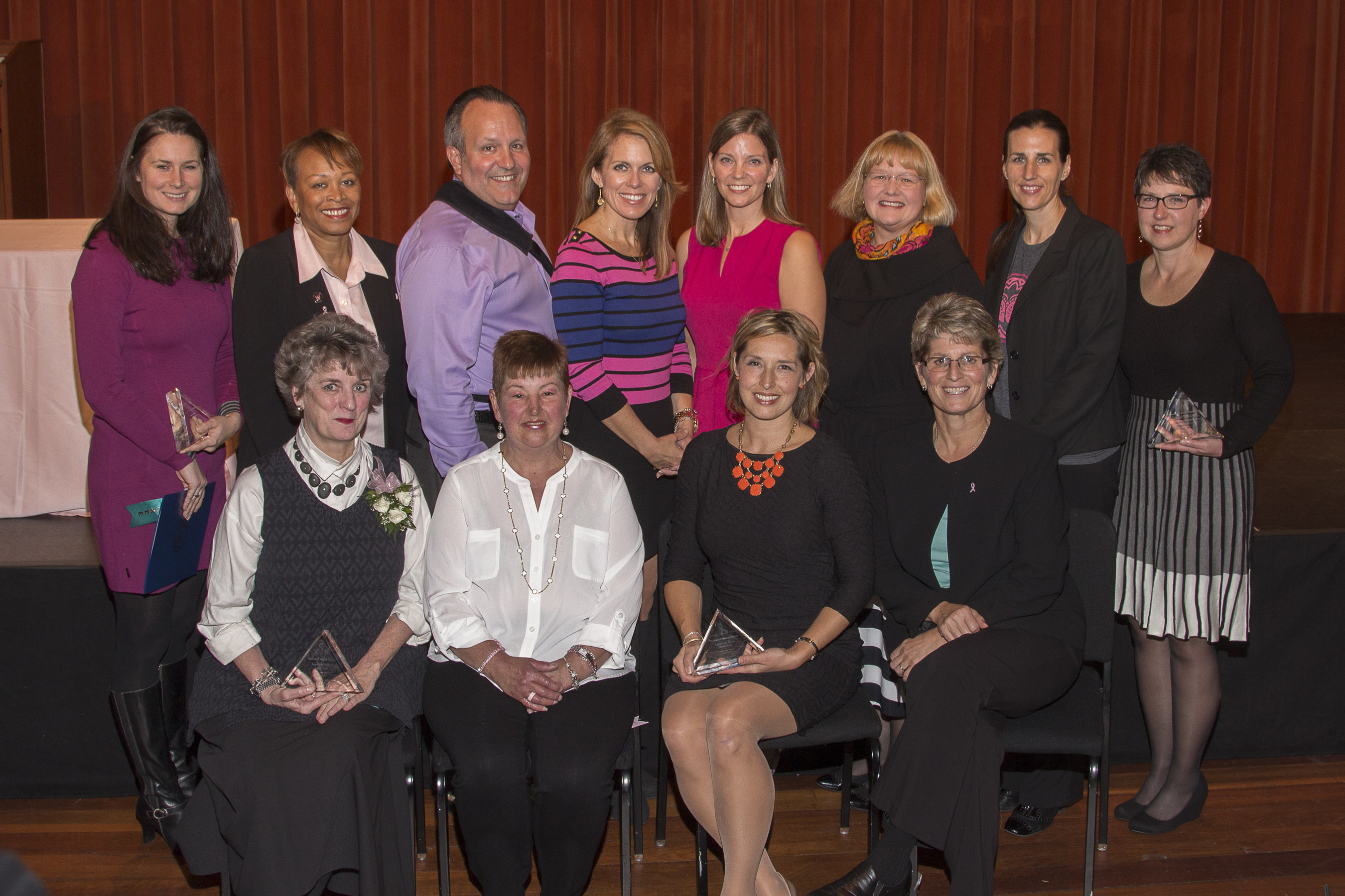Introducing the Barbara Ann Karmanos Cancer Institute's 2015 Heroes of Breast Cancer Awardees: (back row from left) Courtney Welch, representing FOX Sports Detroit; Beverly Hibbler, principal, Detroit International Academy for Young Women; Bob Binson, mayor, City of Center Line, Mich.; Deena Centofanti, anchor/reporter, WJBK FOX 2; Michele Cote, Ph.D., Karmanos Cancer Institute/Wayne State University; Kyle Huber, volunteer, Ford Motor Company; Tracy Magee, Ford Warriors in Pink; Maria Gird, R.N., Karmanos Cancer Center; (front row from left) Mary Liz Curtin, owner, Leon & Lulu; Kathy Mulheron, R.N.; Michelle Tubbs, Young Survival Coalition; Ann Cramer, sister of the late Kathryn Cramer, M.D.