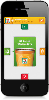 7-Eleven customizes mobile app to guest preferences and products by geography, time of day and weather.  (PRNewsFoto/7-Eleven, Inc.)