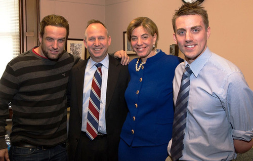 Action Sports Star/Host of The Challenge TJ Lavin, Governor Jack Markell, President and Founder of RespectAbilityUSA Jennifer Laszlo Mizrahi, and Gold Medalist Matt Cowdrey on Capitol Hill speaking on empowering people with disabilities to achieve the American dream.  (PRNewsFoto/RespectAbilityUSA)
