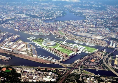 "Today the General Assembly of the German Olympic Sports Confederation (DOSB) has voted in favour of Hamburg as the German nominee for the 2024 Olympic and Paralympic Games. The north German city of Hamburg prevailed over Berlin and aims to present games with short distances, on the water and amidst Europe's second largest port. Hamburg's concept is sustainable and compact: an industrial port site will be transformed into a new quarter - the ""Olympic City"". Situated close to the city centre it will be turned into a residential area after the Olympics. Photo credits: gmp Architects / Gartner & Christ"