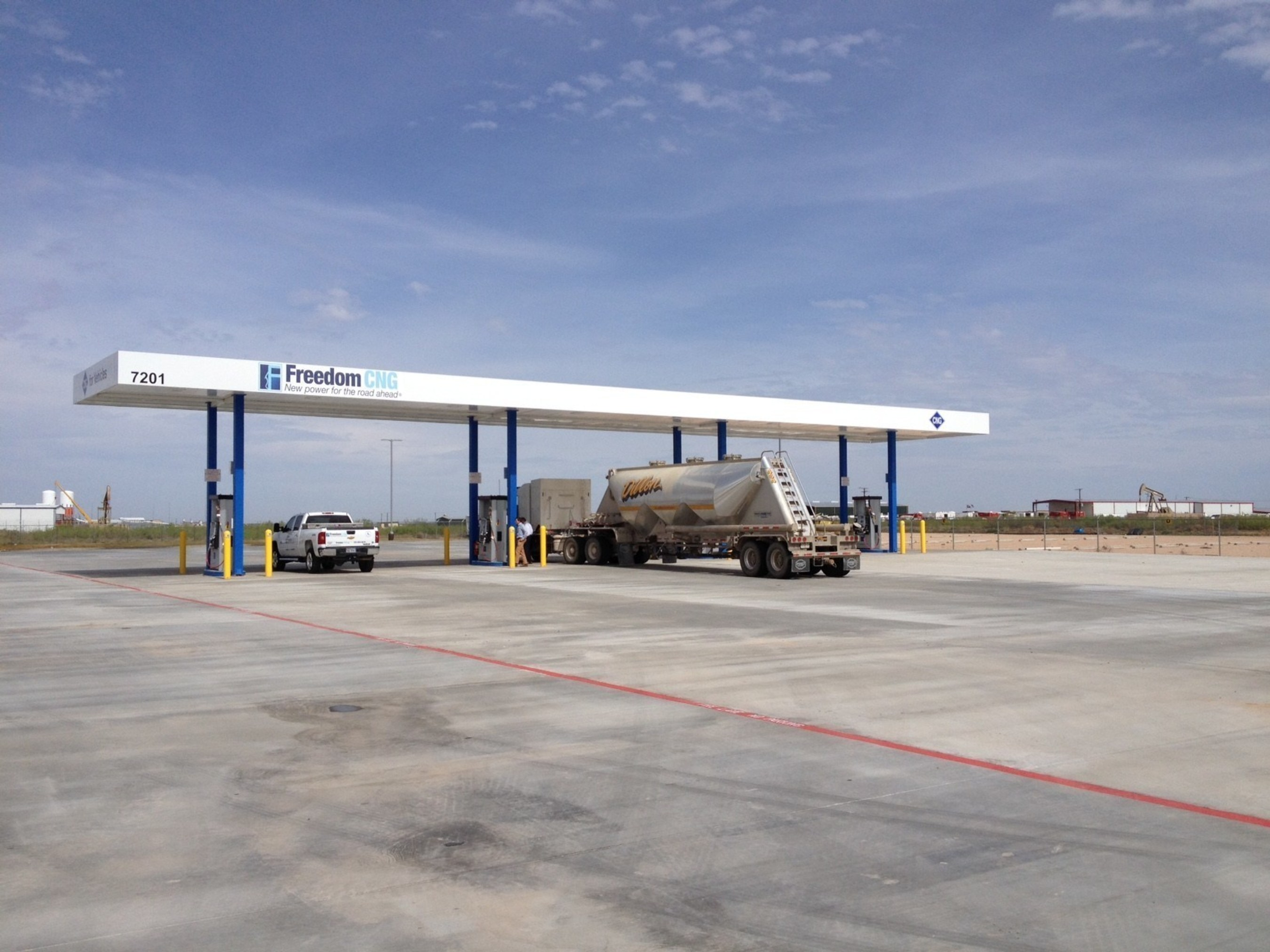 Midland, Texas' newest compressed natural gas fueling station, operated by Freedom CNG, is capable of sending CNG-powered truckers west to El Paso or east to Dallas.
