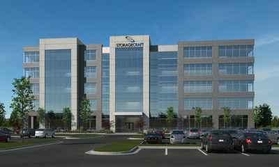 Artist's concept of StorageCraft Technology Corporation's new corporate headquarters facility. The company broke ground for the 125,000-square-foot facility on Friday in Draper, Utah. The building is part of a company expansion that will include at least 230 new jobs. (PRNewsFoto/StorageCraft Technology Corp...)