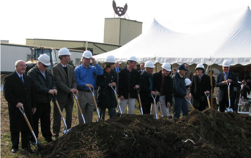 Government and business leaders break ground on Unique Pretzels' $8.5M manufacturing expansion project using tax-exempt financing from Customers Bank.  (PRNewsFoto/Customers Bank)
