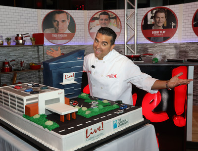"""TLC's """"Cake Boss"""" Buddy Valastro unveils a giant specialty cake replica of the new $200M flagship Live! Hotel tower, currently under construction at Live! Casino, located in the Washington DC/Baltimore corridor. Live! Hotel is scheduled to open in 1st quarter 2018."""
