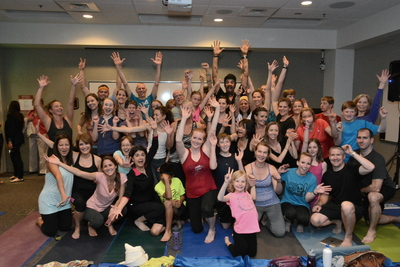 Life was better today thanks to a special visit from Michael Franti. The singer-songwriter, humanitarian, and child author visited Denver Health to do yoga with Denver Health employees before performing at the Denver Health Nightshine Gala, April 26. (PRNewsFoto/Denver Health)