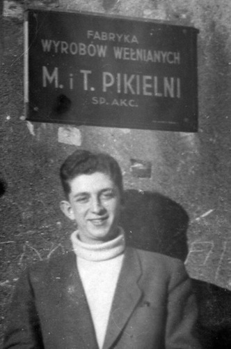 Henryk Pikielny, pictured in front of his grandfather's factory in Poland in 1946. After seven years, the European Court on Human Rights denied the Pikielny family and other Holocaust survivors compensation for their nationalized properties and businesses. While the European Court advised survivors to seek remedies in Polish courts, Pikielny and others have already unsuccessfully pursued their cases in Poland over many decades.  (PRNewsFoto/New York Legal Assistance Group (NYLAG))