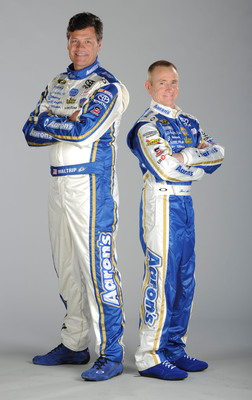 """This weekend during the Aaron's 499 Talladega NASCAR Sprint Cup race broadcast on FOX, Aaron's, Inc. will premiere the latest two spots of its 2012 NASCAR advertising campaign.  Both TV commercials feature a comedic portrayal of NASCAR's """"Odd Couple"""" -- Aaron's drivers Mark Martin and Michael Waltrip.  (PRNewsFoto/Aaron's, Inc.)"""