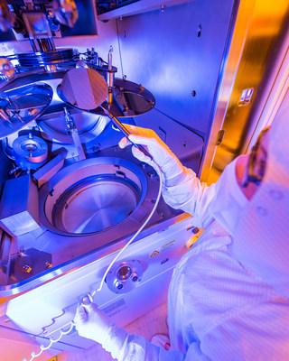 A Gallium Nitride (GaN) wafer undergoes the fabrication process in Raytheon's foundry.