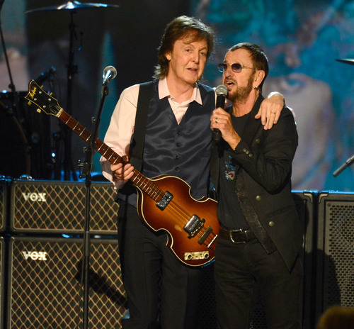 """""""THE BEATLES: THE NIGHT THAT CHANGED AMERICA  A GRAMMY(R) SALUTE"""". Sir Paul McCartney and Ringo Starr. Photo Courtesy of The Recording Academy(R)/Wireimage.com (C) 2014 Photographed by: Kevin Mazur. (PRNewsFoto/Alfred Haber, Inc., Kevin Mazur) (PRNewsFoto/ALFRED HABER, INC.)"""