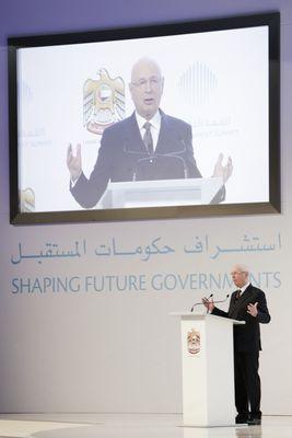 Klaus Schwab - WEF - addresses third annual Government Summit 2015 - UAE (PRNewsFoto/The Government Summit)